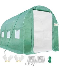 10x6.6x6.6FT Upgraded Large Walk-in Greenhouse Heavy Duty Galvanized Steel Frame 2 Zippered Screen Doors 6 Screen, White or Green
