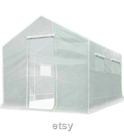 10x9x8 ft Portable Tunnel Greenhouse for Outdoors 2 Zipper Mesh Doors Large Walk-in Garden Plant Greenhouse with 12 Stakes
