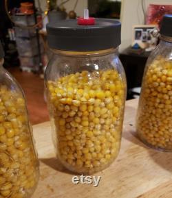 12 one quart popcorn grain jars ready to go.