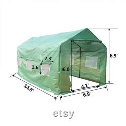 15 x7 x7 Outdoor Heavy Duty Walk in Greenhouse Plant Gardening Spiked Greenhouse Tent Green house with Observation Windows