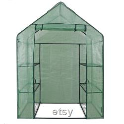 15x7x7ft Walk-In Greenhouse Tunnel, Garden Accessory Tent with 8 Roll-Up Windows, Zippered Door