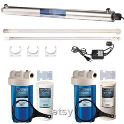 55W UV Sediment and Carbon Well Water Purifier Water Purifier System 12 GPM UV Sterilizer with 4.5 x 10 filter housing