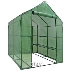 57 x 57 x 77 3-Tier 8 Shelves Portable Mini Walk-In Greenhouse, Plants Flowers Growing Green House, Portable Mini ,Walk-In Greenhouse