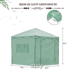 6'x8'x8' Portable Pop-up Walk-in Greenhouse with Roll-up Door 2 Windows Plant Gardening Green House Canopy for Growing Flowers Vegetables