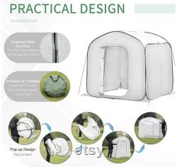 7 x 7 x 7 Garden Portable Pop Up Greenhouse with Side Door and Portable Zipper Bag for Plants