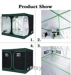 96 x96 x78 Mylar Hydroponic Grow Tent with Observation Window and Removable Floor Tray for Plant Growing 8x8 ft