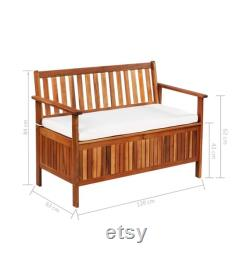 All Weather Outdoor Storage Bench 47.2 Inches Acacia Wood Garden Deck Box with Backrest Cushiond Seat Storage Container