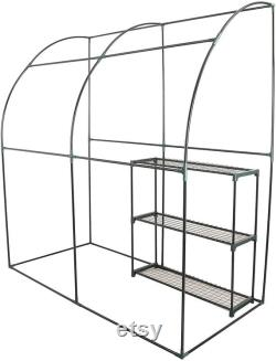 CO-Z Lean to Greenhouse Walk in, Portable Mini Green House with PE Cover, Waterproof Hot House UV Protected Green House,3.3 x 6.6 x 7.0 Feet