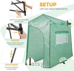 EAGLE PEAK 9'x4' Portable Lean to Walk-in Greenhouse Instant Pop-up Fast Setup Indoor Outdoor Plant Gardening Green House Canopy