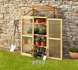 Garden Grow 3 Tier Polycarbonate Wooden Cold Frame Greenhouse Outdoor Shelter