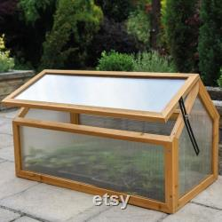 Garden Grow Polycarbonate Wooden Cold Frame Greenhouse Outdoor Planting Shelter