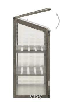 Garden Portable Greenhouse Wooden Cold Frame, Raised Planter Bed Flower Shelves Protection (Gray or Orange)