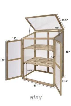 Garden Portable Wooden Cold Frame Greenhouse Raised Flower Planter Protection (30.0 X22.4 X42.9 )