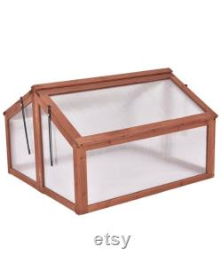 Garden Portable Wooden Cold Frame Greenhouse Raised Flower Planter Protection (35.4 X31.3 X23.0 )