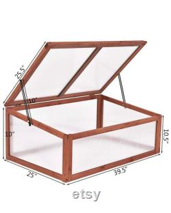Garden Portable Wooden Green House Cold Frame Raised Plants Bed Protection (39.3 X24.8 X15.1 )