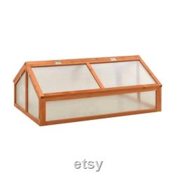 Garden Portable Wooden Greenhouse Cold Frame, Planter Box, Raised Plants Bed Protection (Gray or Orange)