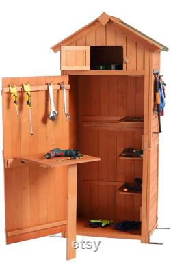 Garden Storage Shed Garden Tool Storage Cabinet Lockable Arrow Wooden Storage Sheds Organizer for Home, Yard, Outdoor