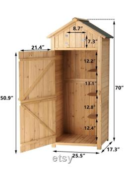 Garden Storage Shed Outdoor Wooden Tool Storage Cabinet Arrow Tool Shed Organizer Fir Wood Lockers for Home, Lawn, Yard