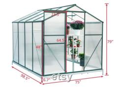 Greenhouse Polycarbonate Outdoor Garden Greenhouse Walk-in Portable 8'(L) x6'(W) x6.6'(H) Adjustable Roof Hot House