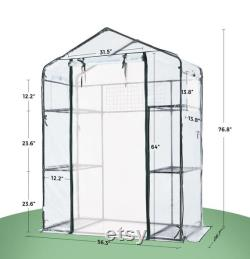 Greenhouse Screen Door 2 Windows 3 Tiers 6 Shelves 56 W x 29 D x 77 H Portable Plant Garden Green House (Clear)