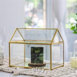 Handmade Gold House Shape Glass Geometric Terrarium Card Wishwell Reception Box for Wedding Ceromony