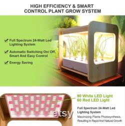 Indoor Gardening Growth Light With Bamboo Frame Plant Grow Box Cabinet Hydroponic Planter Water Hydroponic Garden System Kit