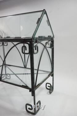Indoor Greenhouse, Tabletop Metal and Glass Greenhouse, Planter, Terrarium, Glass Roof House, Vintage Indoor Glass Greenhouse, Free Ship
