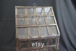 Indoor Greenhouse, Tabletop Metal and Glass Greenhouse, Planter, Terrarium, Glass Roof House, Vintage Metal Glass Greenhouse, Free Ship