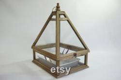Indoor Greenhouse, Tabletop Wood and Glass Greenhouse, Planter, Terrarium, Glass Roof House, Vintage Indoor Glass Greenhouse, Free Ship
