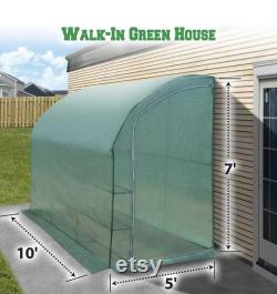 Large Walk-in Wall Greenhouse 10x5x7 H with 3 Tiers 6 Shelves Gardening (Green)