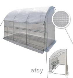 Large Walk-in Wall Greenhouse 10x5x7 H with 3 Tiers 6 Shelves Gardening (White)