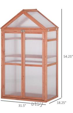 Mini Greenhouse Kit, 32 x 19 x 54 Garden Wood Cold Frame Greenhouse Planter with Adjustable Shelves, Double Doors, Orange Color