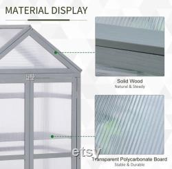 Mini Greenhouse Kit, 32 x 19 x 54 Garden Wood Cold Frame Greenhouse Planter with Adjustable Shelves, Double Doors, Grey Color