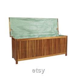 Outdoor Storage Bench Acacia Wood Garden Deck Box Storage Container Patio Backyard Furniture Decor 59 x 19.7 x 22.8 (W xD xH)