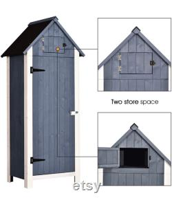 Outdoor Storage Cabinet Tool Shed Wooden Garden Shed Organizer Wooden Lockers with Fir Wood (70 ) (Gray)