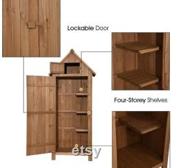 Outdoor Storage Cabinet Tool Shed Wooden Garden Shed Organizer Wooden Lockers with Fir Wood (70 ) (Natural)