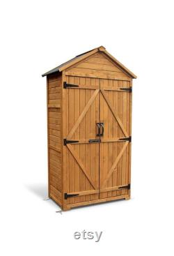 Outdoor Wooden Storage Cabinet Backyard Garden Shed Tool Sheds Utility Organizer with Lockable Double Doors (Natural)