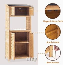 Outdoor Wooden Storage Cabinet, Backyard Garden Shed Tool Sheds, Utility Organizer with Potting Bench