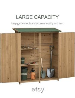 Outdoor Wooden Storage Shed Utility Tool Organizer with Waterproof Asphalt Rood, Lockable Doors, 3 Tier Shelves for Lawn, Garden, Natural