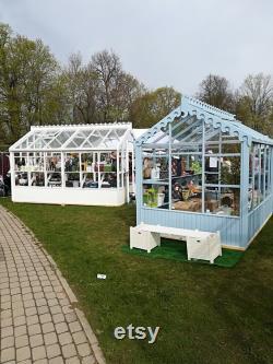 Premium Wood-glass greenhouse set Grieta White Tulip (exhibition model 2018)