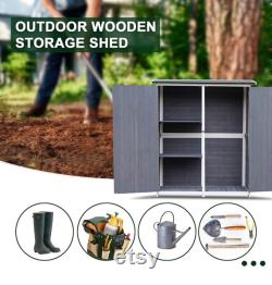 Storage Shed Backyard Utility Tools Organizer Outdoor Wooden Garden Racks Shelves with Lockers 2 Doors Home Furniture (Grey)