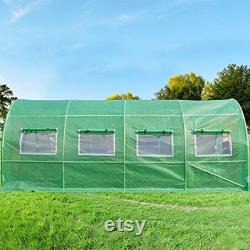 Upgraded 20x10x7 FT Portable Greenhouse 2 Doors 7 Crossbars Large Walk-in Heavy Duty Green Garden Outdoor House 14 Stakes 4 Ropes