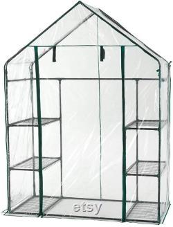 Walk In Greenhouse PVC Plastic Garden Grow Green House with 6 or 8 Shelves UK (6 Shelves)