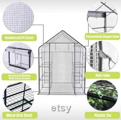 Walk-in Greenhouse with Window,Plant Gardening Green House 2 Tiers and 8 Shelves,L56.5 x W56.5 x H76.5