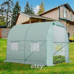 Walk-in Poly Tunnel Green House Galvanized Frame Outdoor Arboretum Garden Planting Potting Shed Easy Assembly Sturdy Strong For Growing