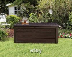 Westwood 150 Gallon Resin Large Deck Box-Organization and Storage for Patio Furniture, Outdoor Cushions, Garden Tools and Pool Toys, Brown