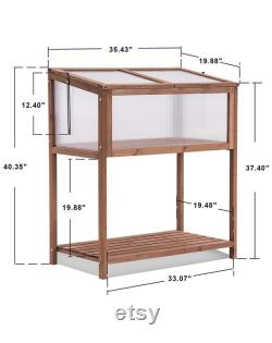 Wooden Cold Frame Greenhouse Raised Kit, Portable Wood Greenhouse with Shelf for Garden Yard, Outdoor Indoor Use, (Natural)