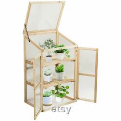 Wooden Framed Polycarbonate Cold Frame Greenhouse (100 x 60 x 45cm)